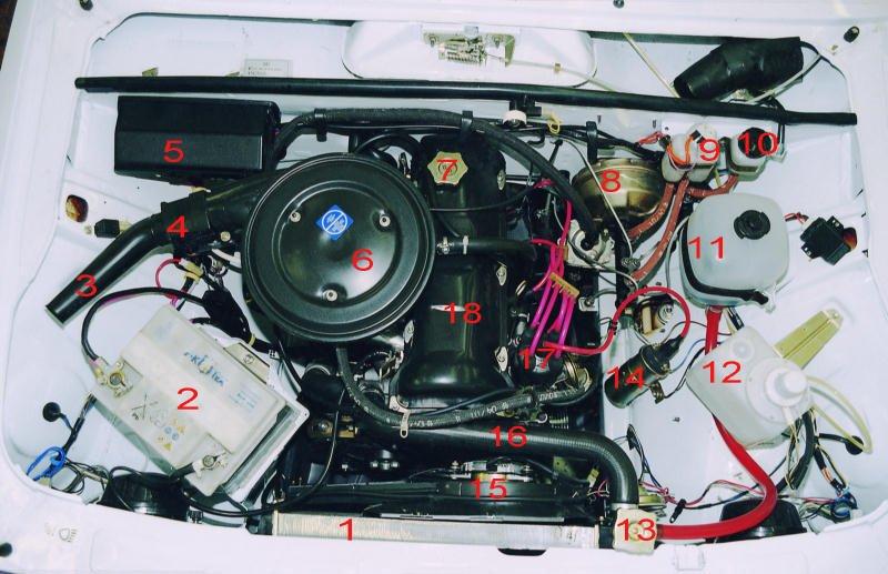 Размещение основных узлов и агрегатов в моторном отсеке